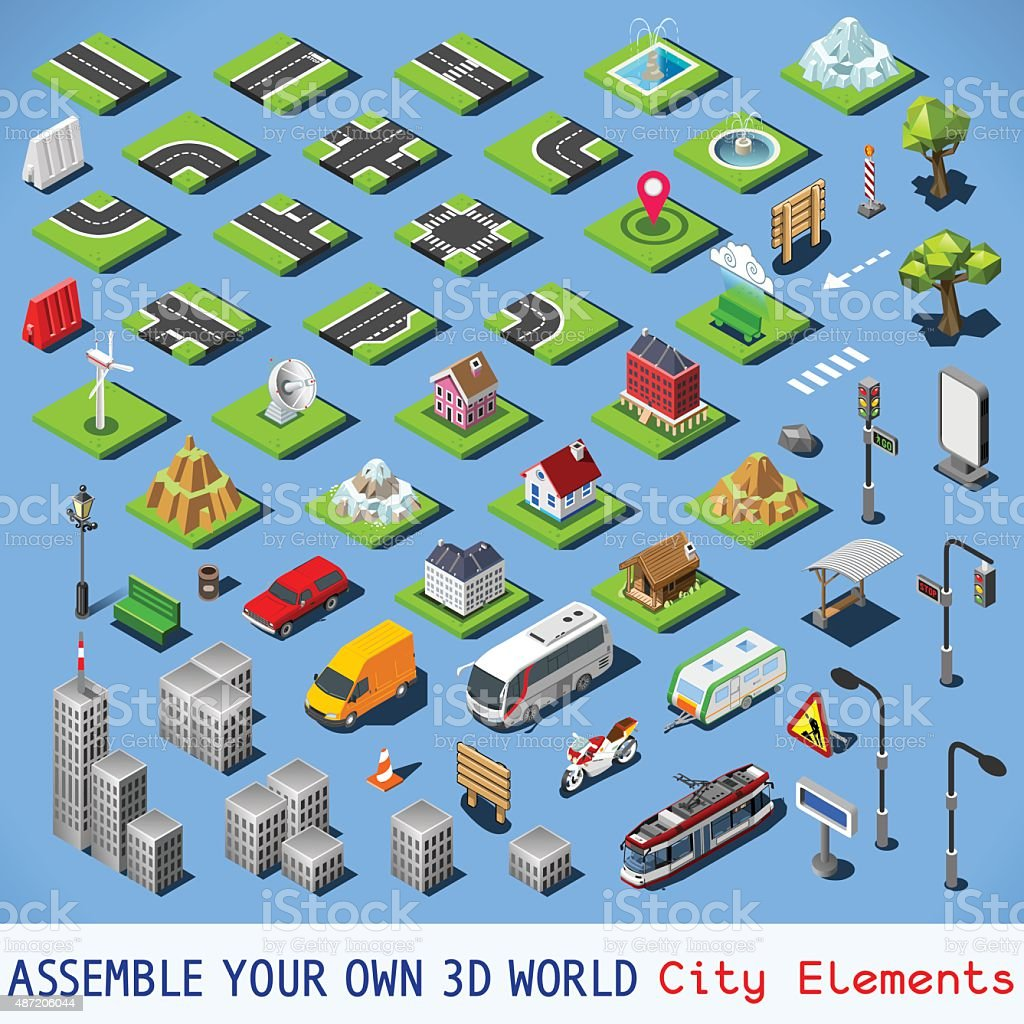 City 01 COMPLETE Set Isometric vector art illustration