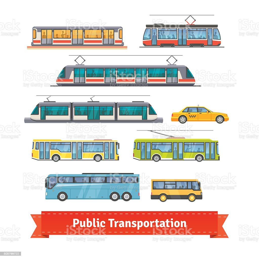 City and intercity transportation vehicles set vector art illustration