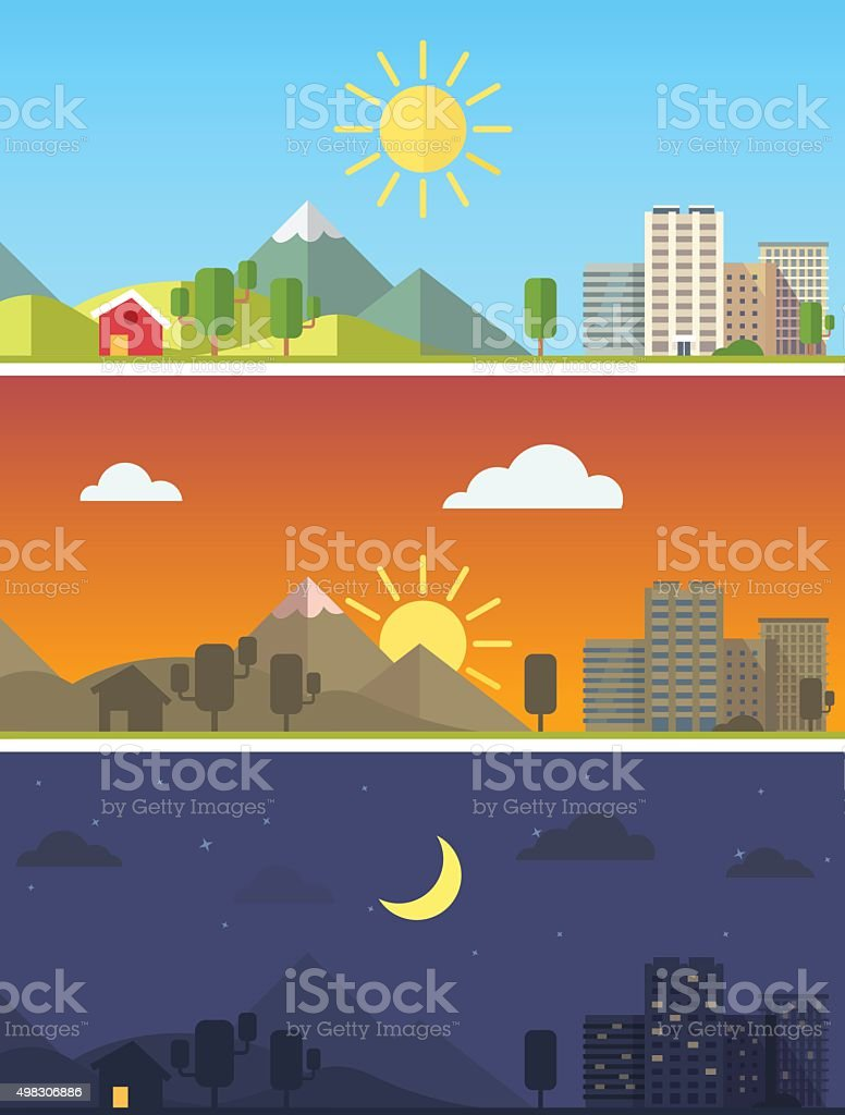 City and landscape in different times of day vector art illustration