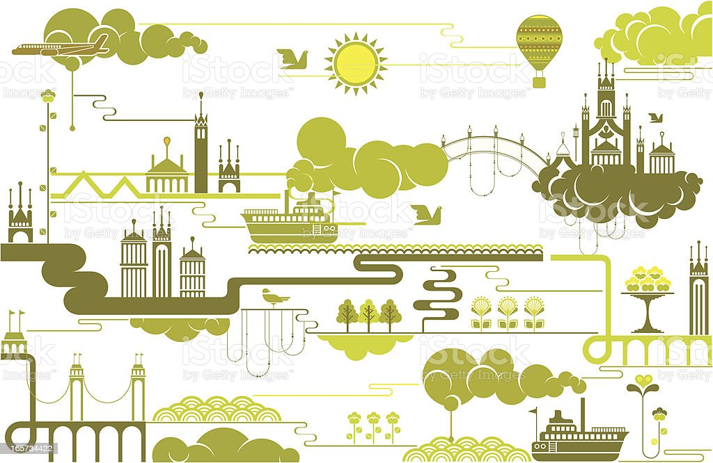 city and nature royalty-free stock vector art