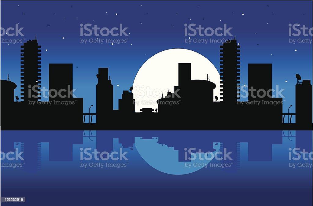 City and night vector art illustration