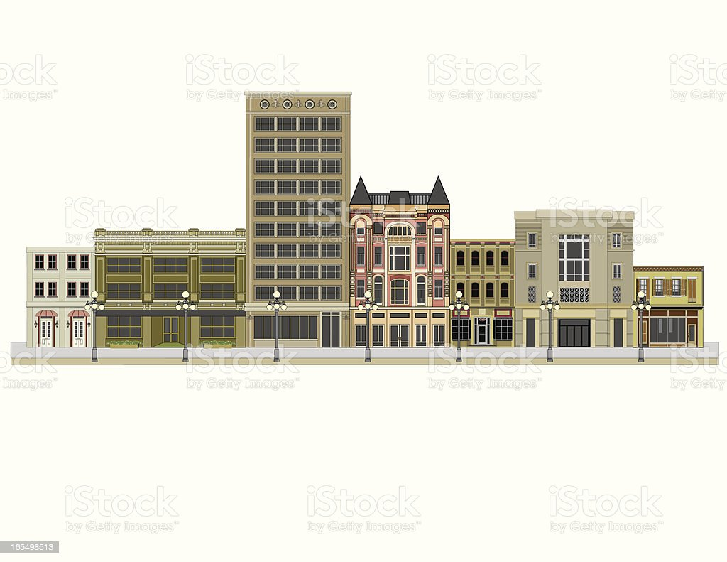 City and Office Buildings. Isolated on White vector art illustration