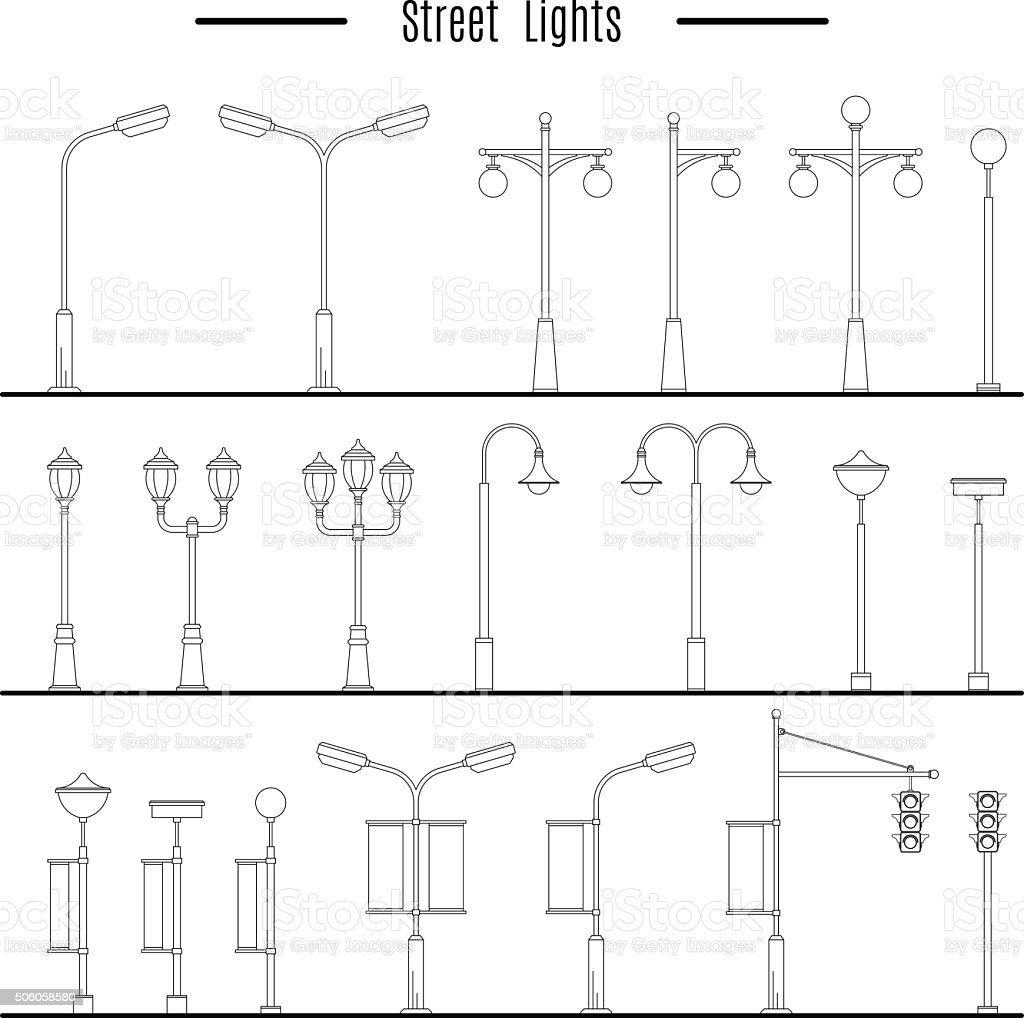City and outdoor element vector art illustration