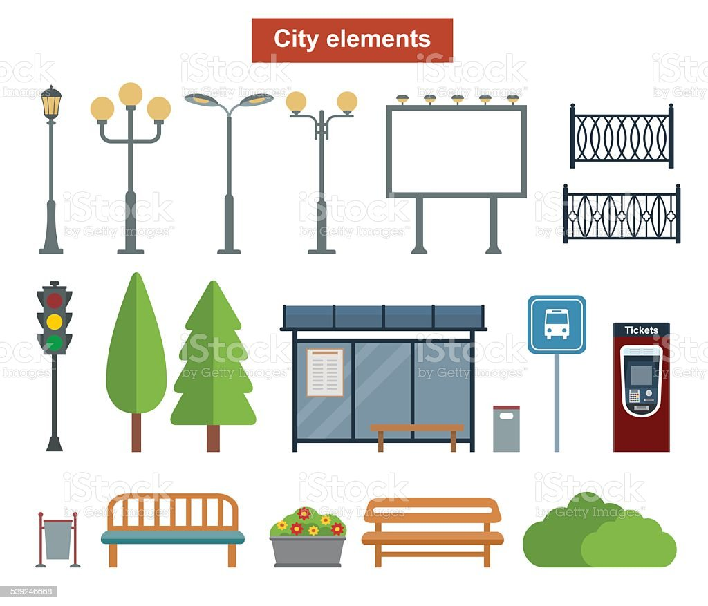 City and outdoor elements for construction of landscapes. vector art illustration