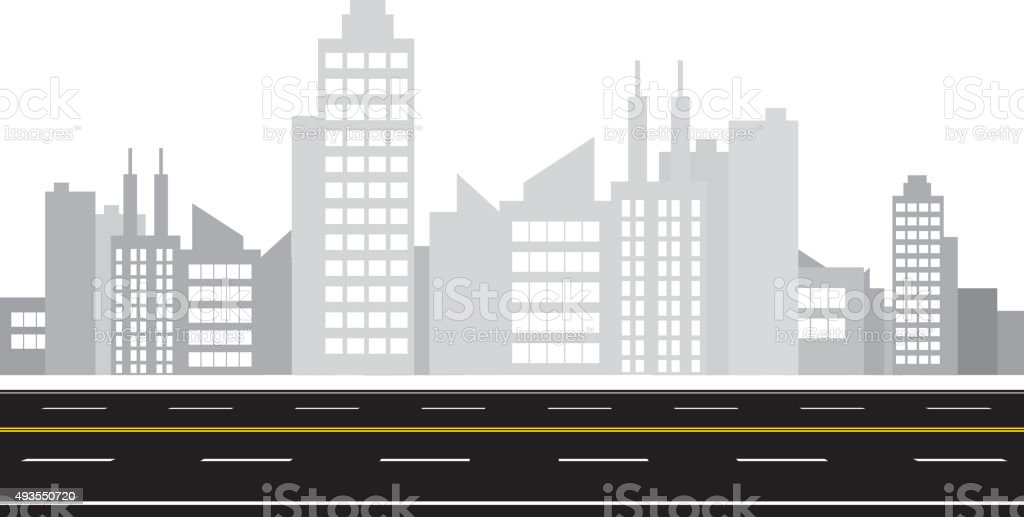 City and road vector art illustration