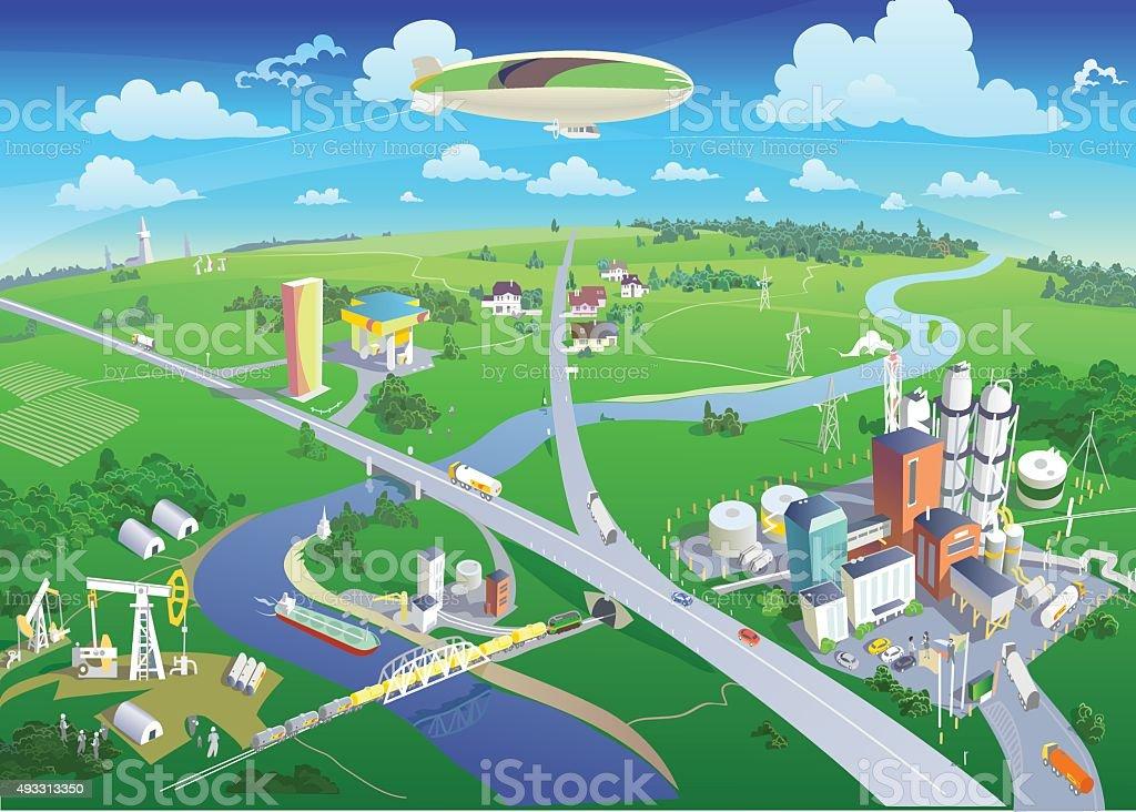 City and surroundings bird's-eye view. Vector vector art illustration
