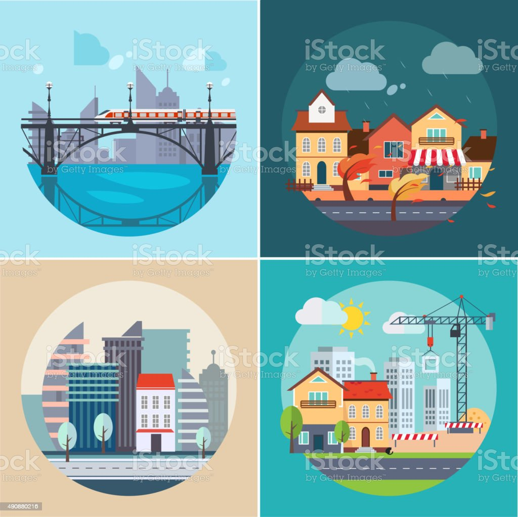 City and Town Landscapes, Buildings vector art illustration