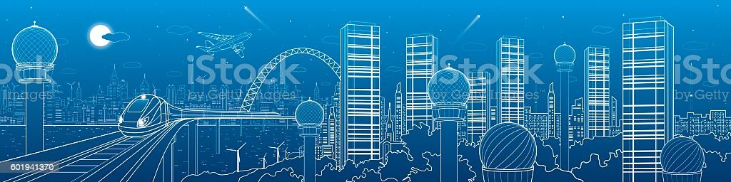 City and transport futuristic panorama, train on the bridge, skyline vector art illustration