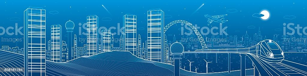 City and transport mega panorama, train on the bridge, skyline vector art illustration