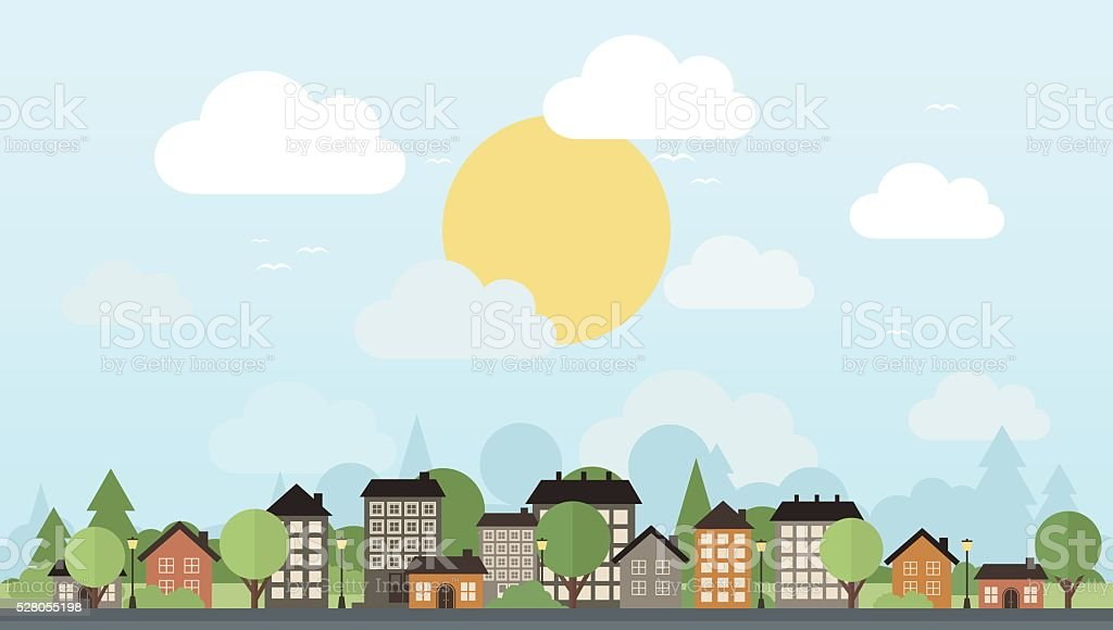 City and trees vector art illustration