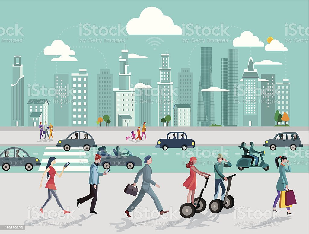 City and Wireless Technology vector art illustration