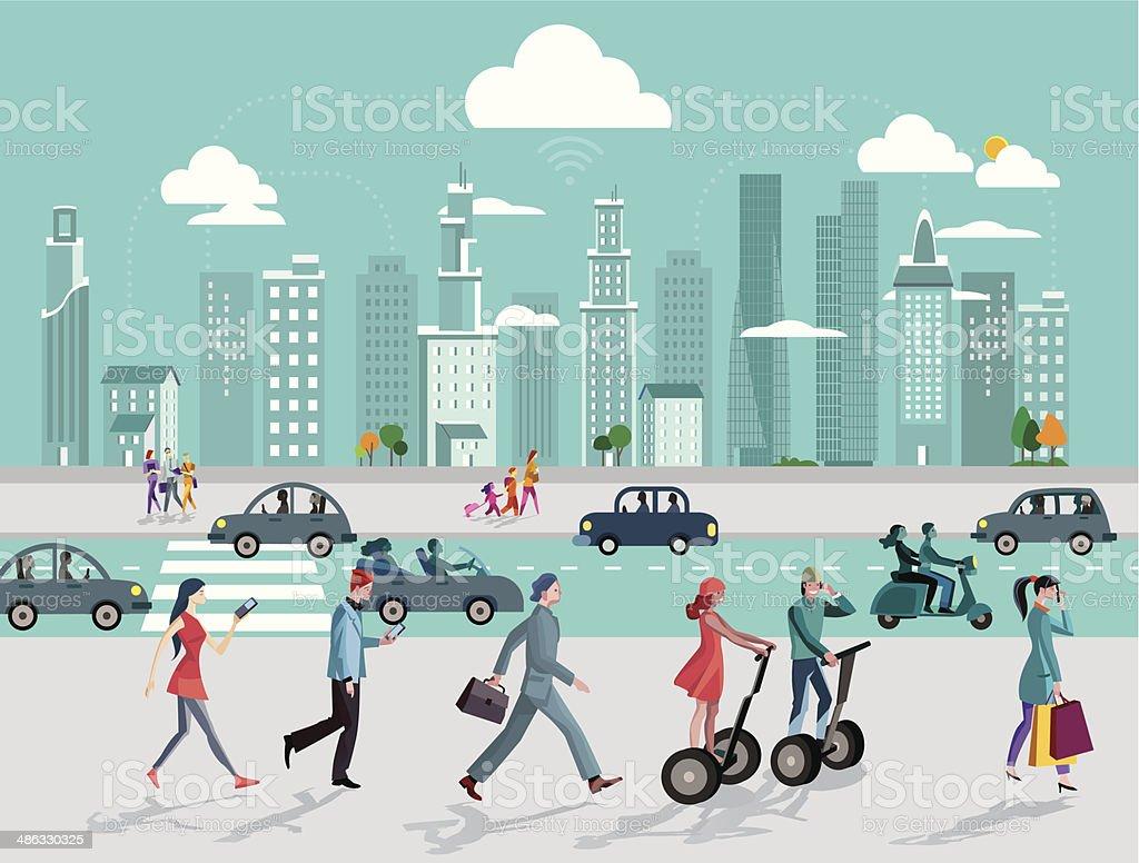 City and Wireless Technology vector art illustration