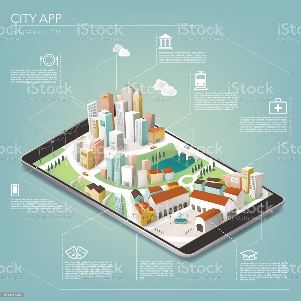 City app on tablet vector art illustration