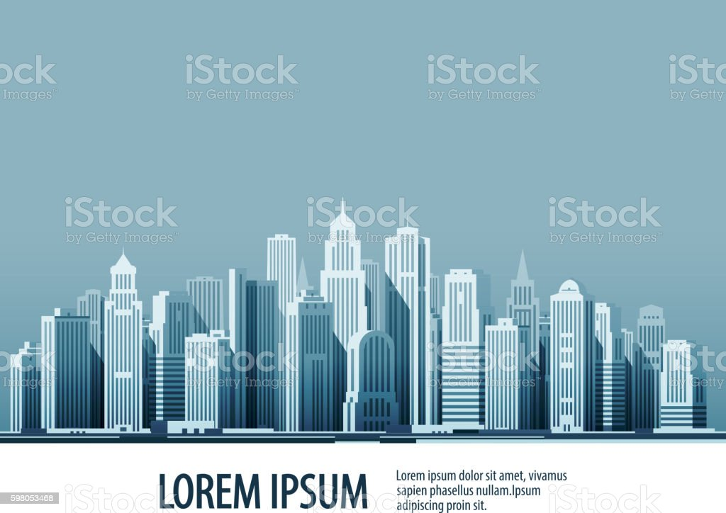 City. Architectural building in panoramic view. Vector illustration vector art illustration