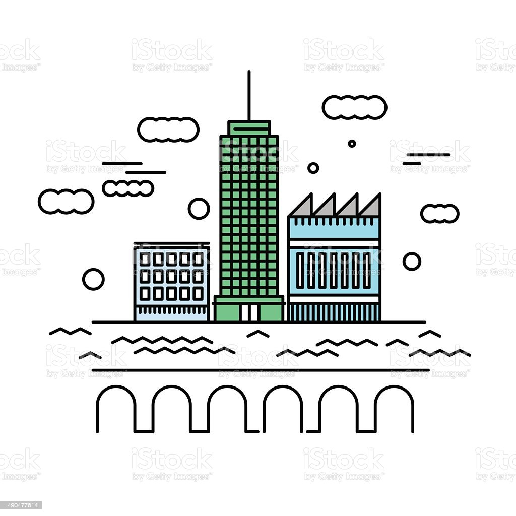 City architecture vector illustration. Urban landscape with skys vector art illustration