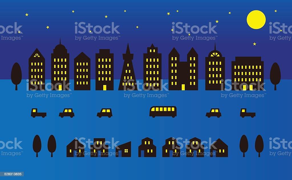 City at full moon night vector art illustration