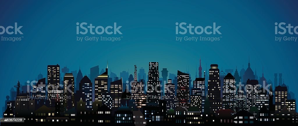 City at Night (123 Highly Detailed Buildings) vector art illustration