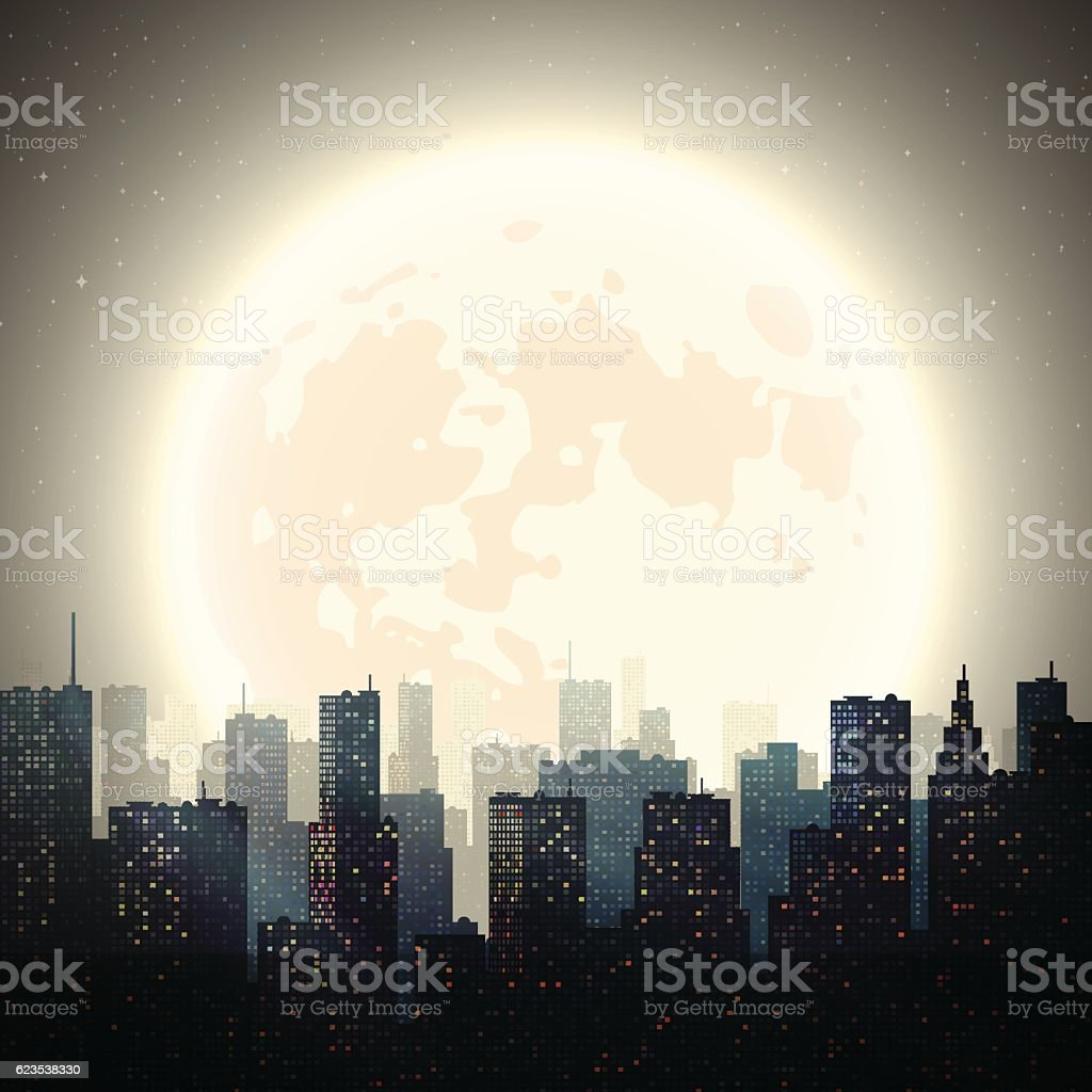 City at Night with Moon vector art illustration
