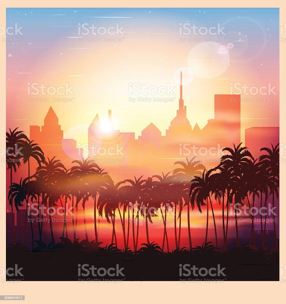 city at sunrise vector art illustration