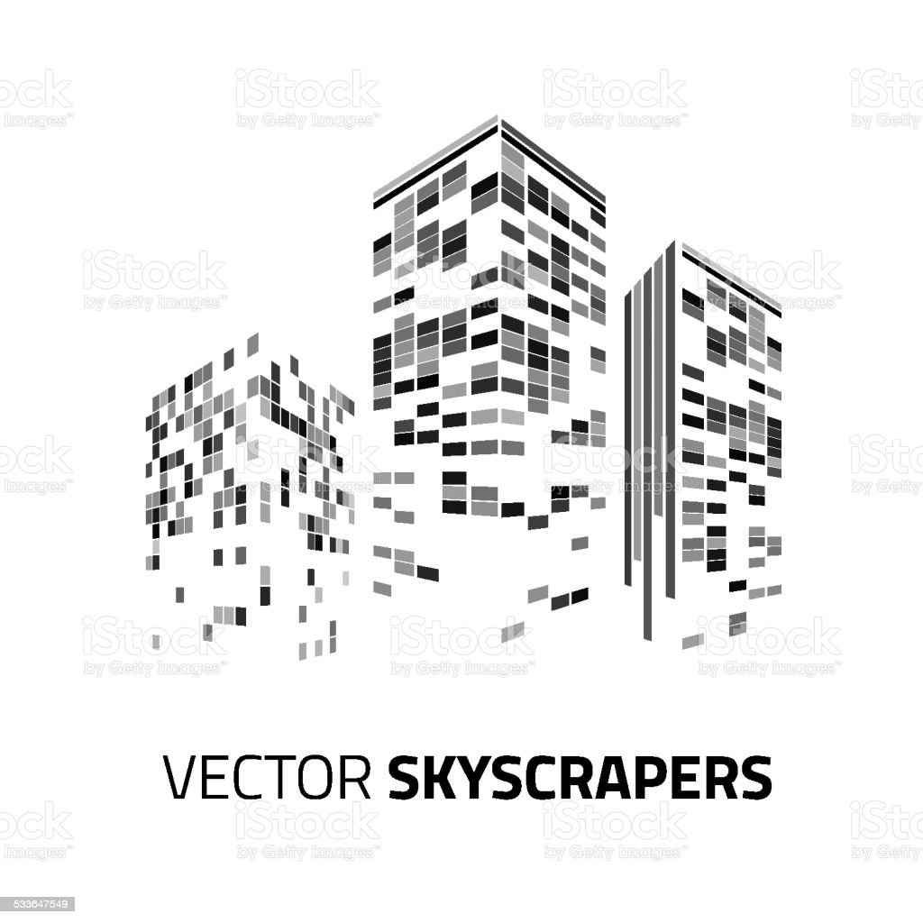 City background - skyscrapers with lights. Cityscape background. vector art illustration