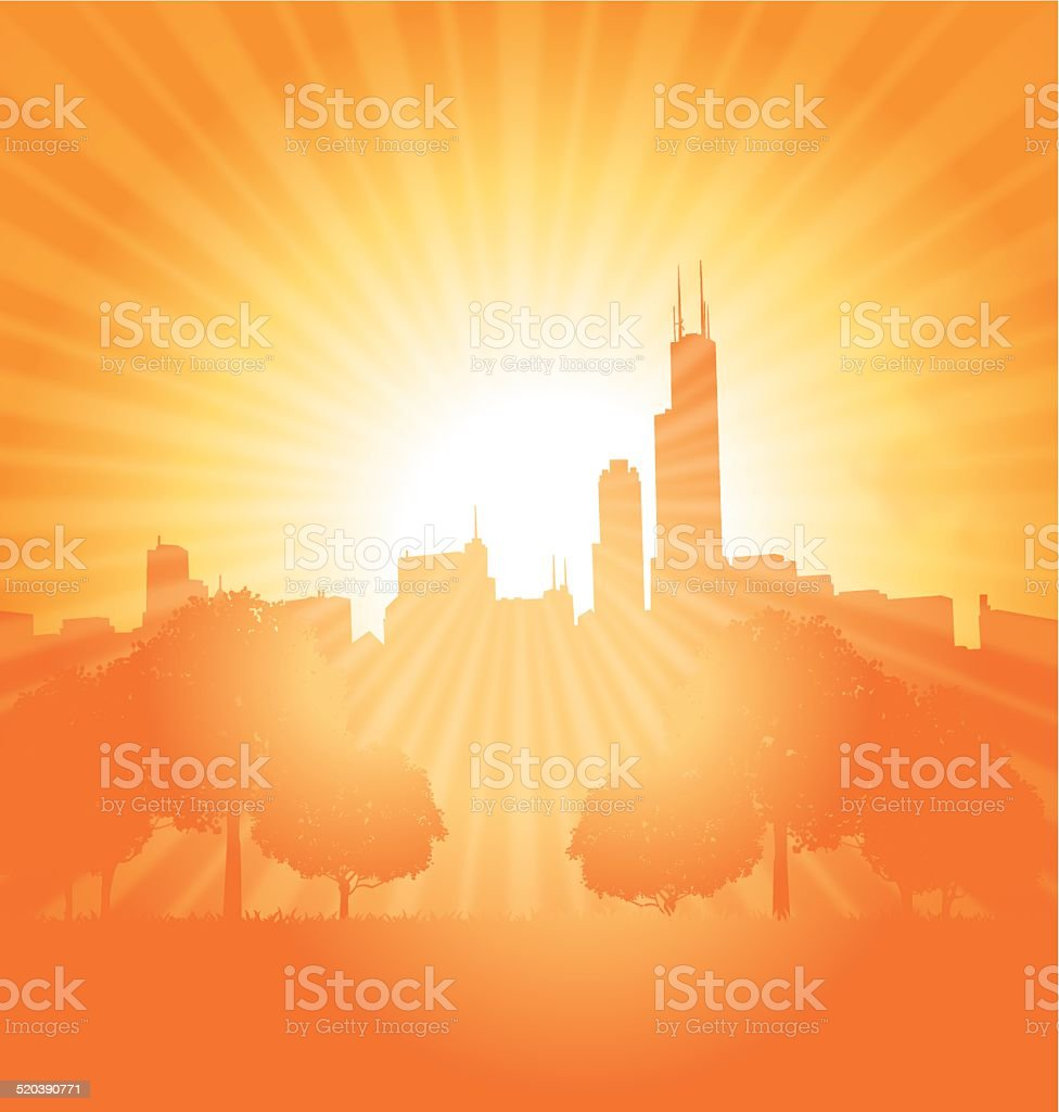 City Background Sun Burst Background vector art illustration