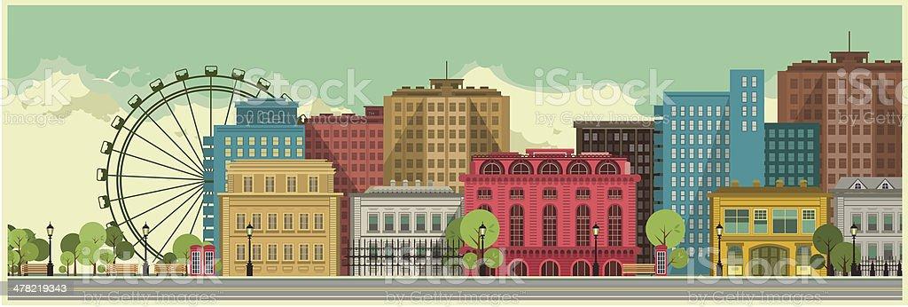 City background vector art illustration