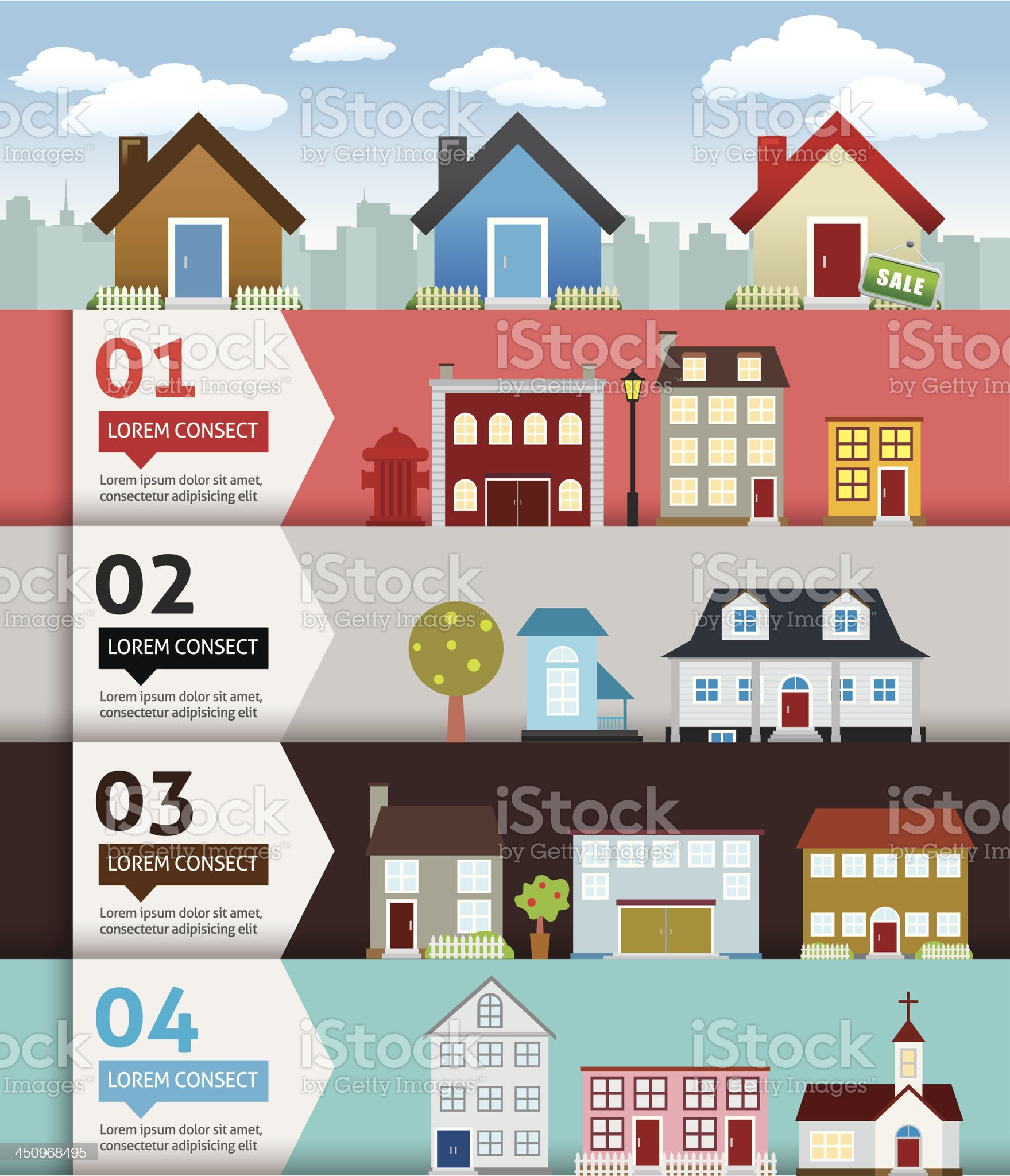 City banenr retro illustration with colorful icons royalty-free stock vector art