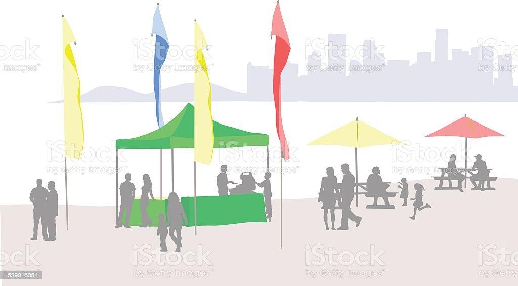 City Beach Tent Color vector art illustration