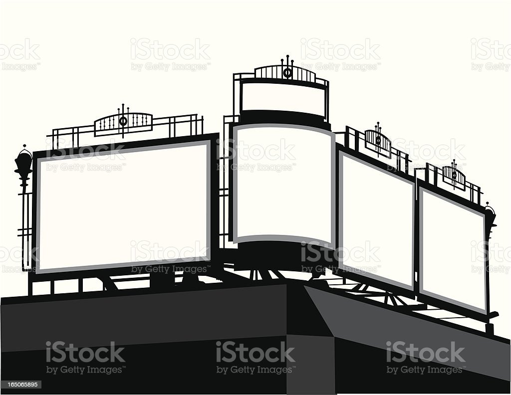 City Billboards Vector Silhouette royalty-free stock vector art
