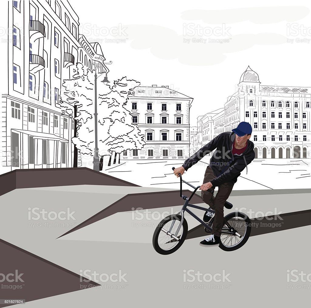 City BMX Biker vector art illustration