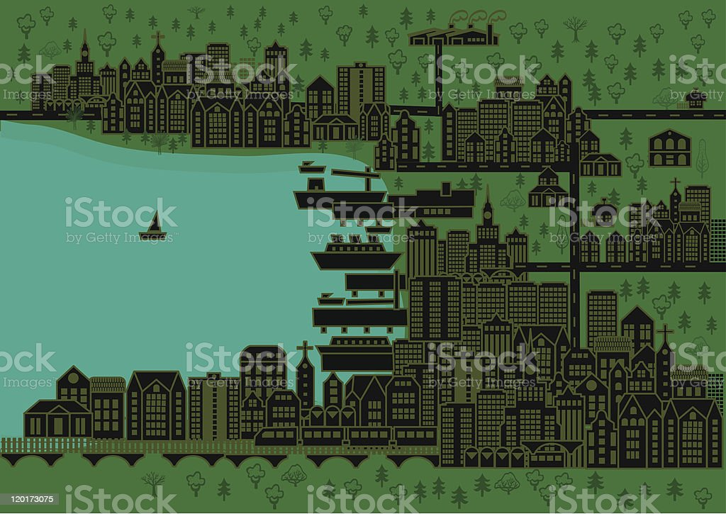 City buildings and a port with ships royalty-free stock vector art