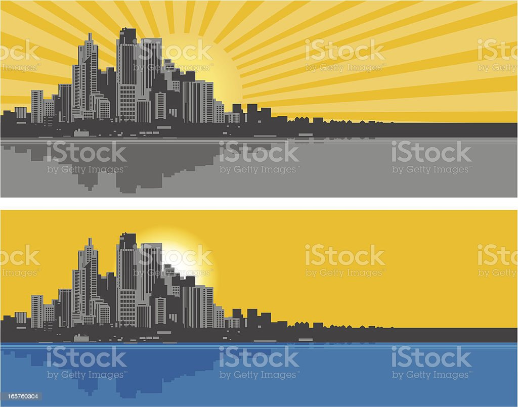 City Buildings and Skyline vector art illustration