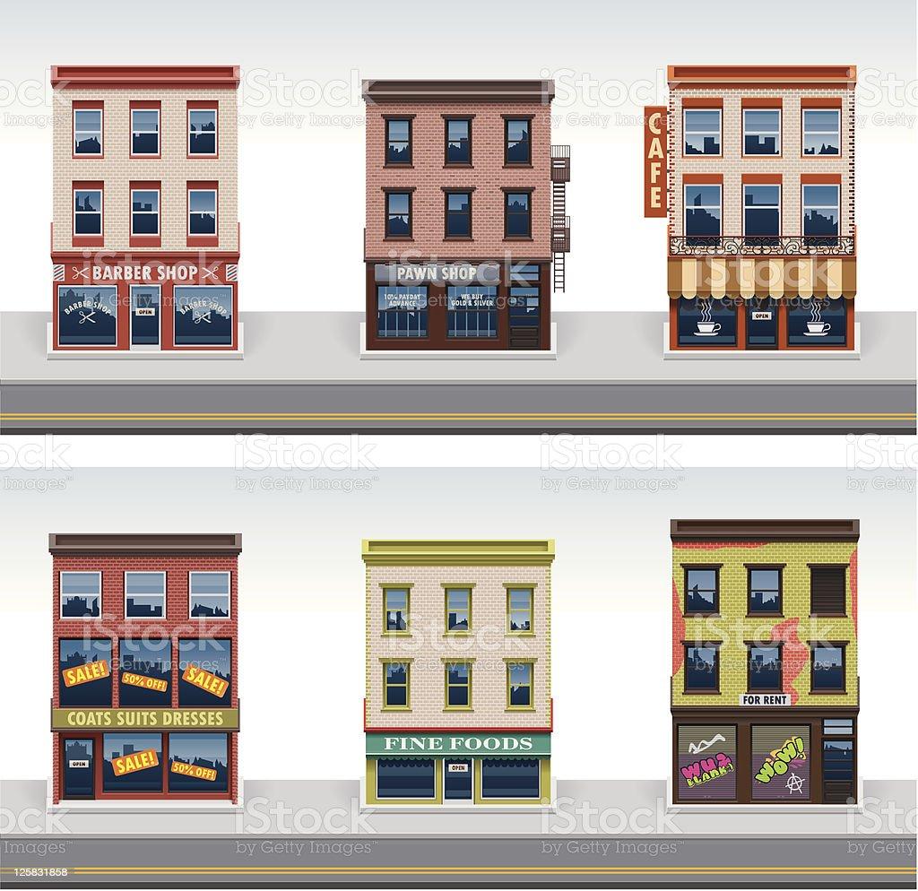 City buildings icon set vector art illustration