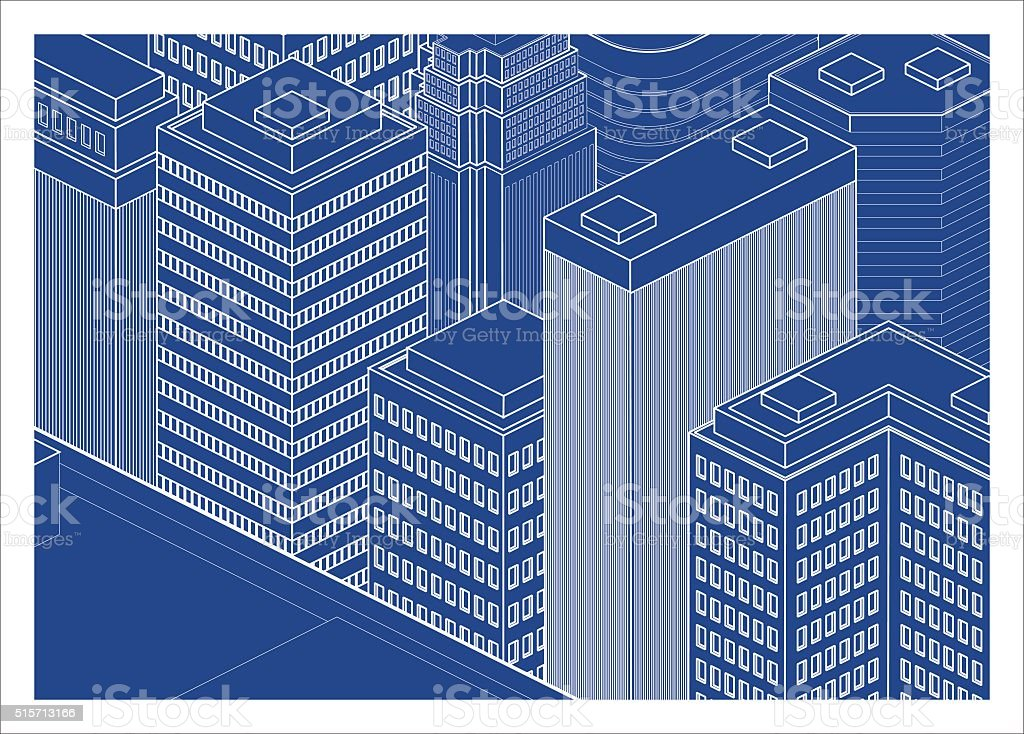 city buildings in blueprint vector art illustration
