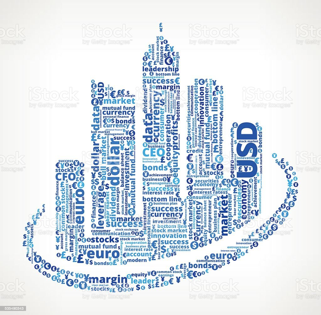 City Buildings on Business and Finance Word Cloud vector art illustration