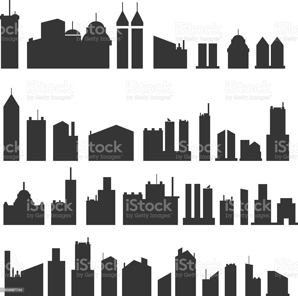 City buildings silhouette icons vector art illustration