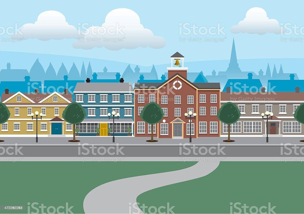 City Buildings Street Scene vector art illustration