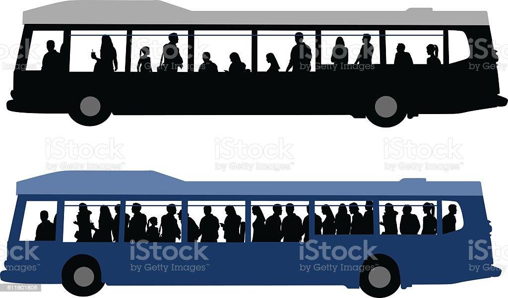 City Bus Crowds vector art illustration
