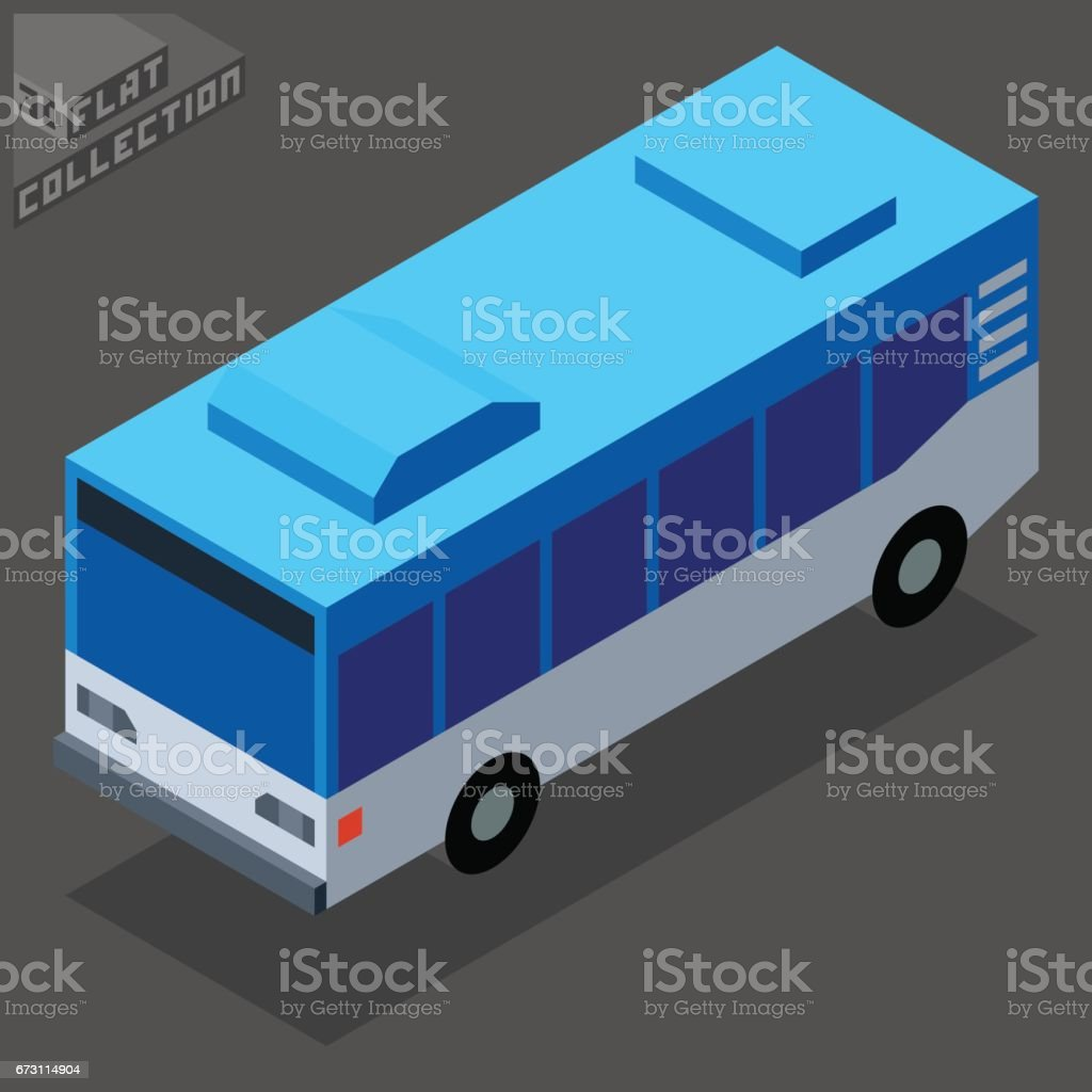 City Bus Icon. 3D Isometric Low Poly Flat Design. vector art illustration