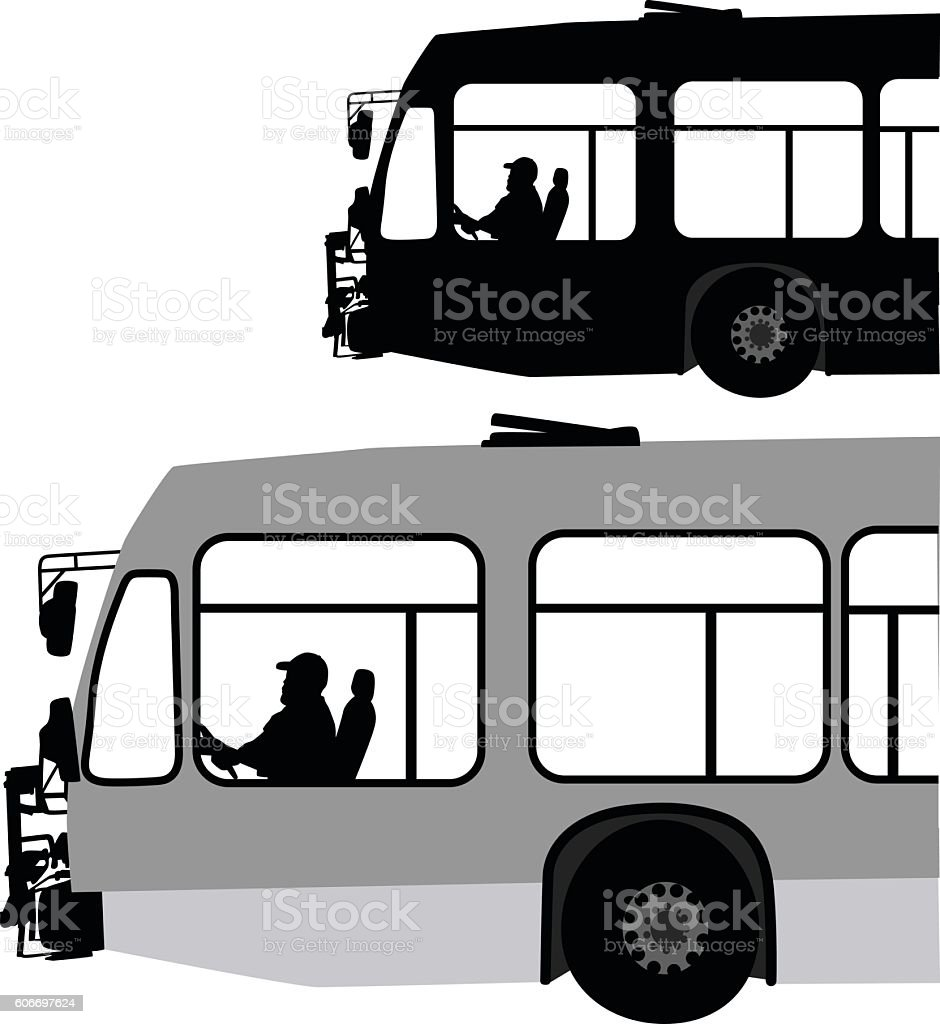 City Bus In Black And White Vector Silhouette vector art illustration