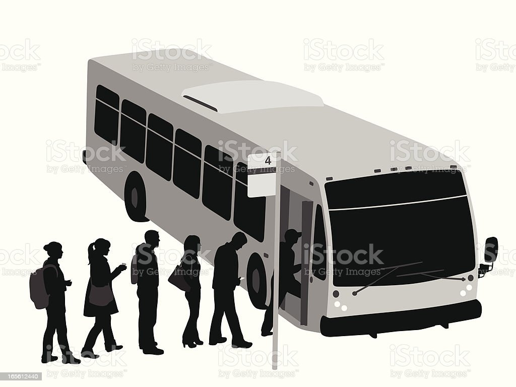 City Bus Vector Silhouette royalty-free stock vector art