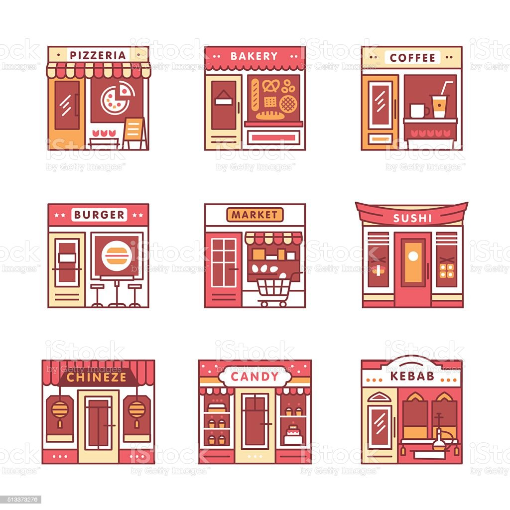 City cafe, food and groceries shops vector art illustration