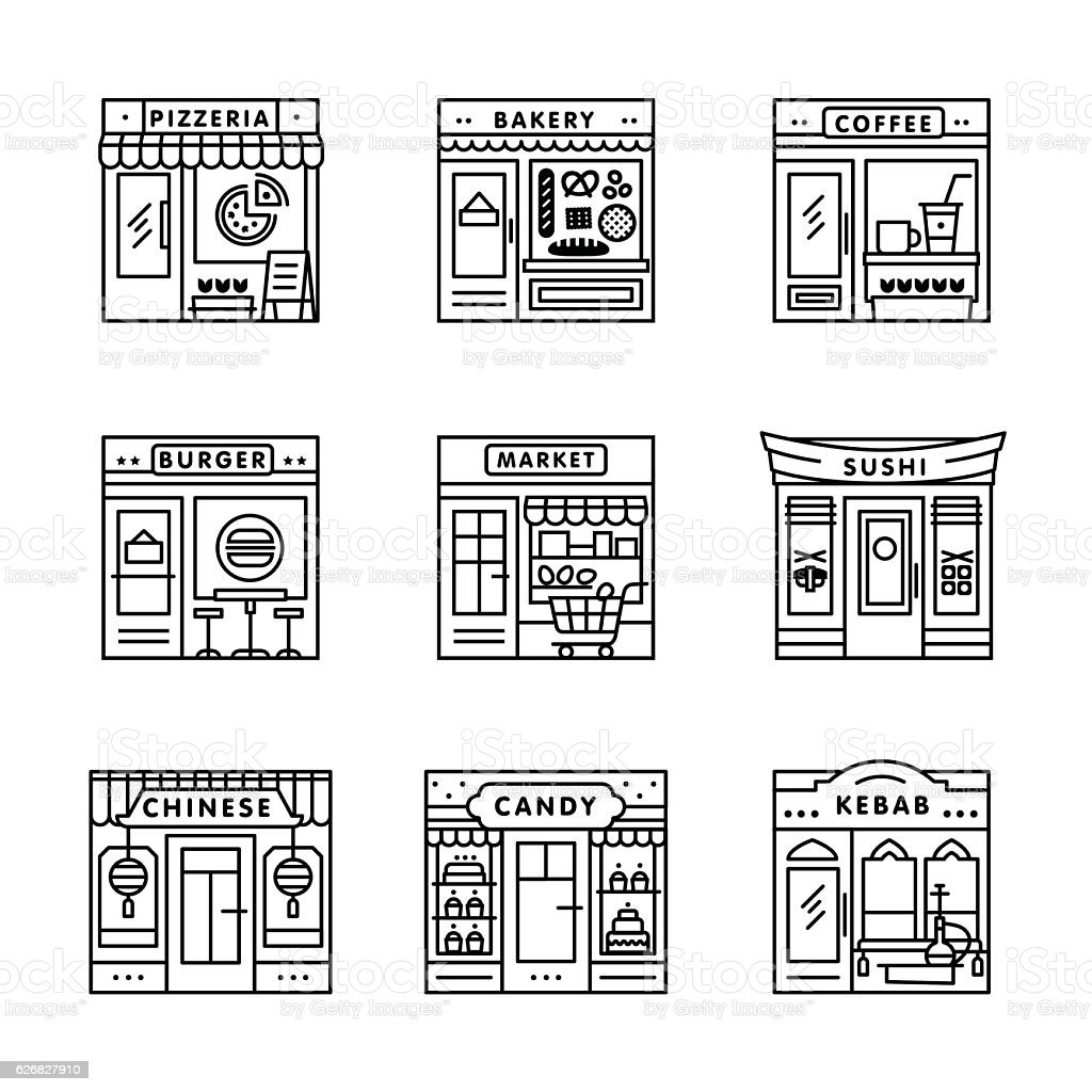City cafe, food, groceries shops, stores buildings vector art illustration