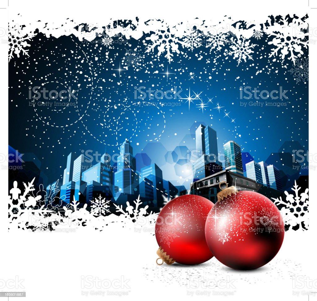 City Christmas Background vector art illustration