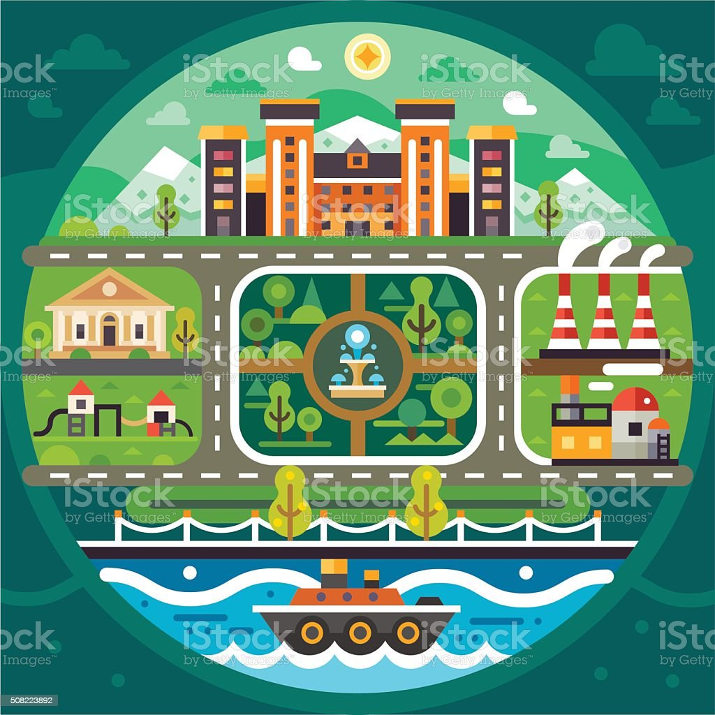 City Circle Landscape. vector art illustration