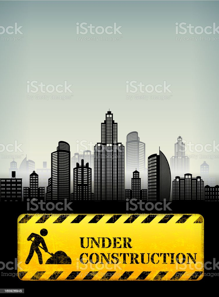 City Construction Work Street Sign with skyline panoramic royalty-free stock vector art