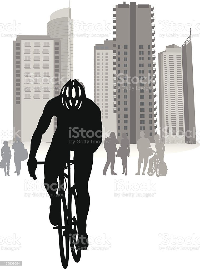 City Cycling Vector Silhouette royalty-free stock vector art
