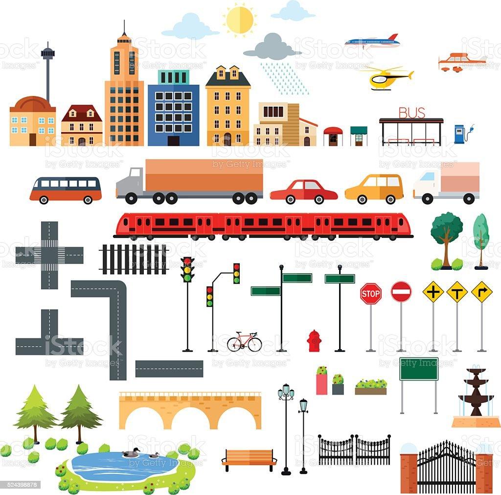 City Design Elements Icons vector art illustration
