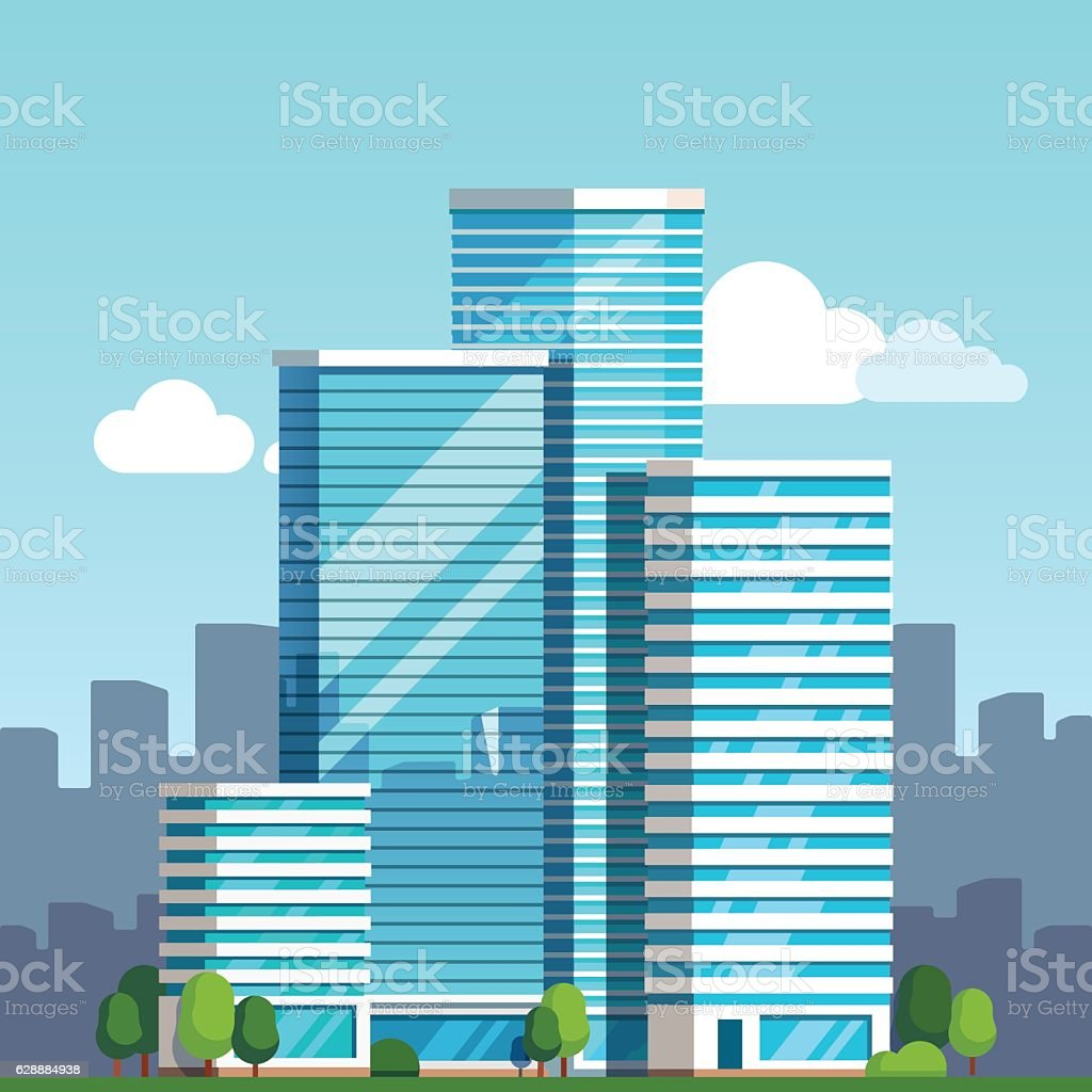 City downtown landscape with skyscrapers vector art illustration