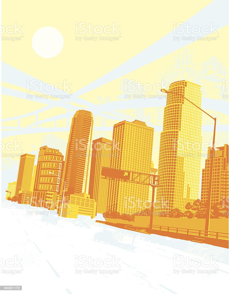 City Downtown.... New Day royalty-free stock vector art